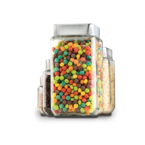 1.5 L Stackable Square Jar With Chrome Lid